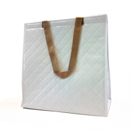 White cooler bag with golden handles