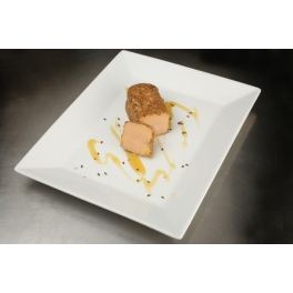 Whole precooked duck's foie gras in lunch stick sesame-coated