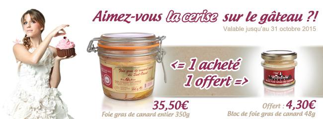 Promotion foie gras entier et bloc de foie gras
